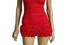 Suit up in the Color Bloom Ruffle Swimdress by Juicy Couture