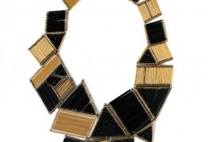 Art Deco-meets-Cubism in this Brass and Bugle Bead Necklace by nOir Jewelry
