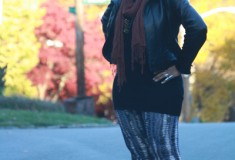 My Style: FALLing Leaves (Kenneth Cole leather jacket + H&M sweater + Rachel Pally leggings)