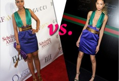 Who rocked it hotter: Chanel Iman vs. Kerry Washington in a colorblock Gucci Spring '11 dress