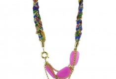 "Haute bauble: Nugaard ""Alegria"" Pink Triple Gem and Braid with Side Clasp Necklace"