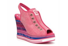 Nine West Original Sneakers pink striped wedge