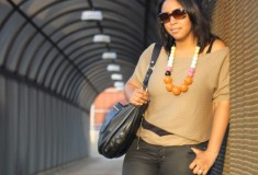 My Style: (Covet top + H&M coated jeans + French Connection bead necklace)