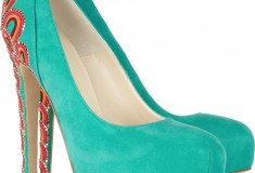 Brian Atwood Claudia Embroidered Suede Pumps front view