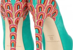 Brian Atwood Claudia Embroidered Suede Pumps - heel detail