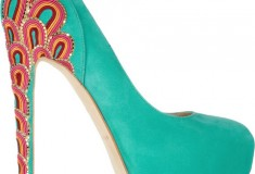 Brian Atwood Claudia Embroidered Suede Pumps - side view