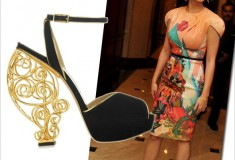Get her haute look: Katy Perry in Manish Arora and Charlotte Olympia Avalon sandals