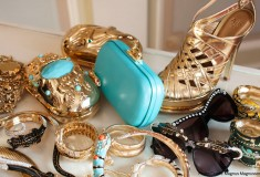 Anna Dello Russo's 'over-the-top accessories collection' for H&M includes gilded gold & turquoise clutches, strappy sandals and animal bangles