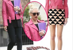 Get her haute look: Gwen Stefani in a pink Kelly Wearstler Rio Obsidium Lamb Jacket, Stella McCartney Oriental Red eco-friendly sunglasses and Acne Pistol leather ankle boots