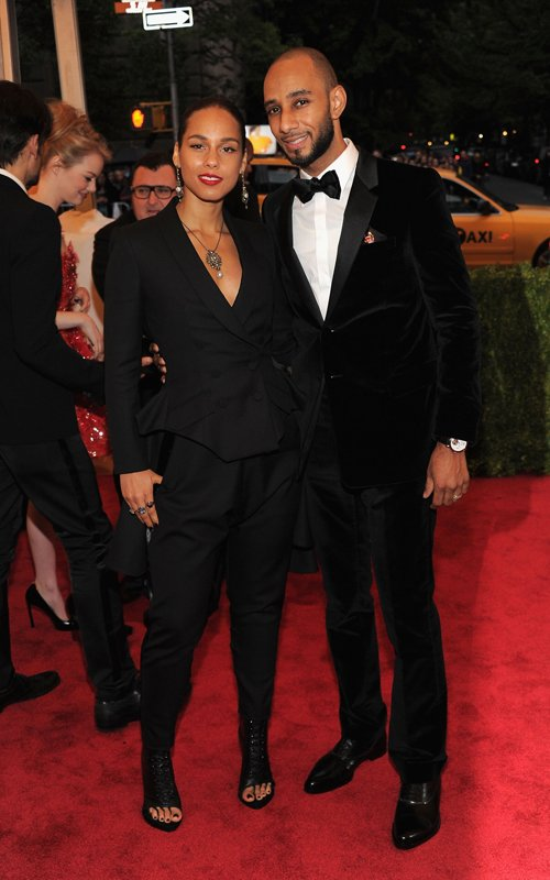 MET Gala 2012 Alicia Keys With Swizz Beatz in matching Givenchy suits