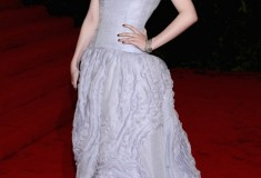 MET Gala 2012 Dakota Fanning in a lavender organza Louis Vuitton gown