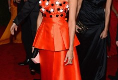 MET Gala 2012 Eva Mendes in orange peplum gown