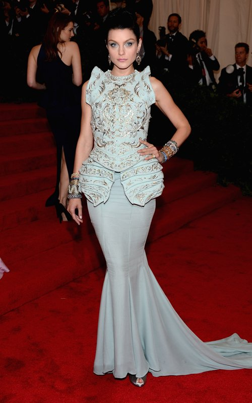 MET Gala 2012 Jessica Stam blue gown