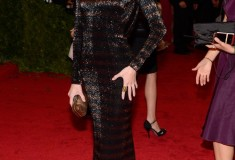 MET Gala 2012 Rosie Huntington Whiteley in striped gown
