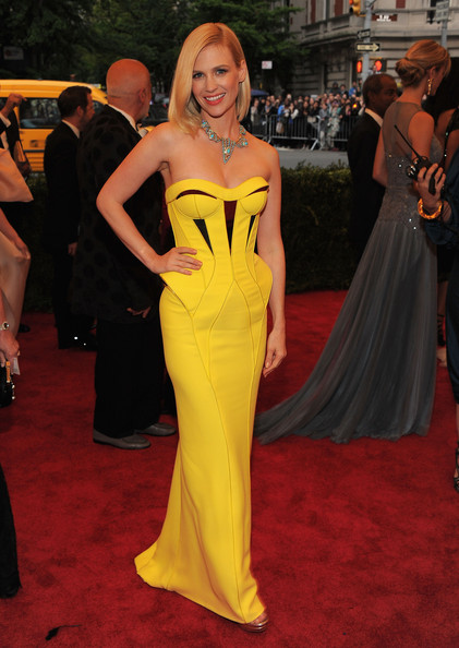 MET Gala January Jones in yellow Versace