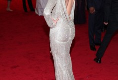 Met Gala Cameron Diaz in backless metallic Stella McCartney