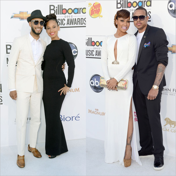 Swizz Beatz and singer Alicia Keys and Monica and Shannon Brown at the 2012 Billboard Music Awards