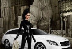 HAUTE PIC: Joan Smalls plays with the new Mercedes-Benz CLS Shooting Brake, shot by Mario Testino