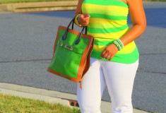 My style: Lemon-Lime (Alice + Olivia Striped Tube Top + Proenza Schouler PS11 Capri Tote + Rockport Janae Perforated Sandals)