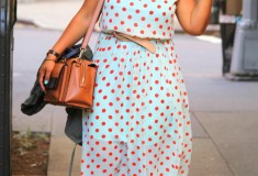 My style: Rock the polka dots (China dress + Vince Camuto sandals + kate spade Bow Bridge Kennedy satchel)