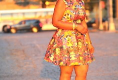 My style: All dressed up (H&M skater dress + DvF sandals)