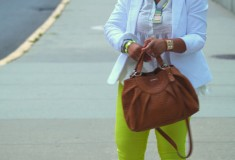 My style: neons and neutrals (white H&M blazer, white Boundary & Co. peplum top, Maya Brenner 'Pennsylvania' state necklace, neon yellow Forever 21 jeans, Vince Camuto 'Toleo' sandals, Furla bag, Icing mirrored sunglasses, Jewelmint necklace, Joe Fresh bracelets, FCUK watch)