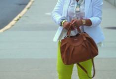 My style: Tornado watch (White blazer & peplum top, neon yellow jeans, Vince Camuto sandals, Furla satchel)
