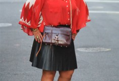 My style: Sugarlips Sunset Depth Blouse, Kirna Zabête for Target Faux leather skirt, DV by Dolce Vita Wedges, Rebecca Minkoff Morning After Clutch bag
