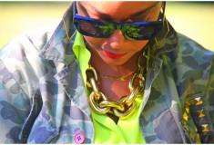My style: A walk in the park (WGACA camo jacket + Equipment neon blouse + Alexander Wang bag + Valentino pumps)