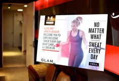 "Glam & Under Armour blogger bootcamp at Exhale Spa: Under Armour sign - ""No matter what, sweat everyday."""