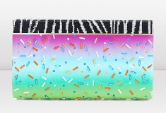Jimmy Choo and Rob Pruitt CAYLA Confetti Printed Patent Clutch with Zebra Pave Magnetic Flap