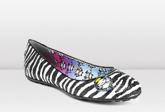 Jimmy Choo and Rob Pruitt CUTIE Zebra Print Glitter Ballet Pumps