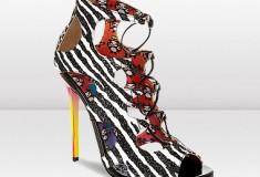 Jimmy Choo and Rob Pruitt DIFFUSE Zebra Print Glitter Sandals