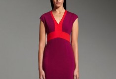 Narciso Rodriguez for DesigNation Colorblock Ponte short sleeved Sheath Dress