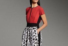 Narciso Rodriguez for DesigNation Scroll Mixed-Media Dress