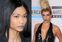 Chanel Iman and Ke$ha with grey lipstick