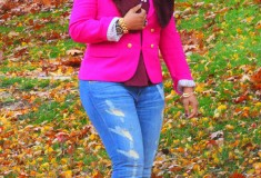 My style: Fall colors - J. Crew Collection crepe shawl blazer in hot pink, Topshop peplum top, H&M fur scarf, Vince ripped skinny jeans, Via Spiga booties)