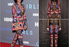 Solange Knowles in a Just Cavalli Pre-Fall 2013 print suit and Bottega Veneta Three-tone leather ankle cuff sandals