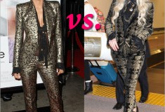 Who rocked it hotter: Halle Berry or Ke$ha in similar gold and black brocade print suits