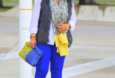 My style: Blue and gold (Faux fur vest + blue H&M pants + ASOS Print clutch)