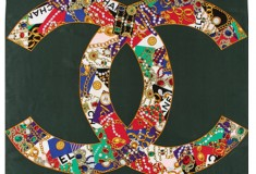 Haute buy: Vintage CHANEL Large Jeweled Patterned CC Scarf in Green