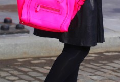 My style: The 'Illest' (boohoo sweater, Muubaa leather skirt + Celine Luggage Tote in fluro pink)