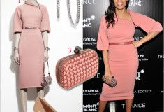"Get her haute look: Rosario Dawson in Bottega Veneta at the premiere of ""Trance"""