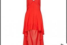 RED RIHANNA DIP HEM CULOTTE DRESS