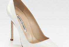 white Manolo Blahnik BB Leather Pumps