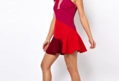 Haute buy: Three Floor Flounce Dress In Color Block