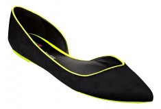 Cameron Silver For Nine West SID flat in black yellow pony