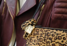 My styled look: Hugo Boss oxblood leather biker jacket, Express moto jeans, Vince silk blouse, Fossil Florence Three Hand Stainless Steel Watch in Gold-Tone with Tort, Cheetah Flex Cuff, Memoir Top Zip Hair Calf Pocketbook in Black w/ Cheetah