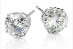 Moissanite Darling 2ctw Round Stud Earrings in White Gold