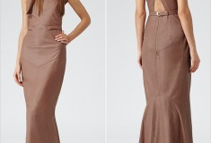 Haute buy: Reiss Hedra Cognac Leather Maxi Dress
